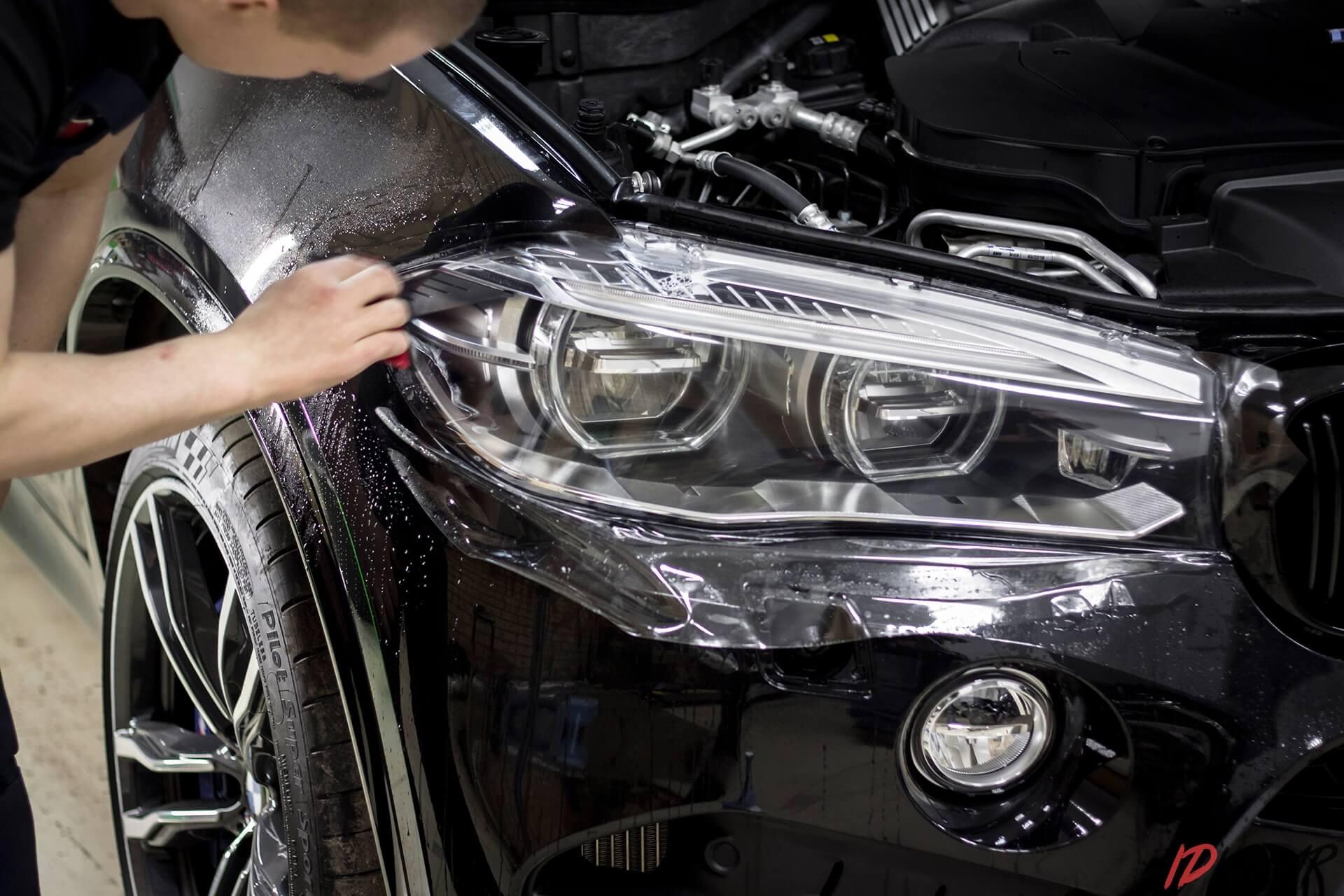 Бронирование фар BMW X5M пленкой
