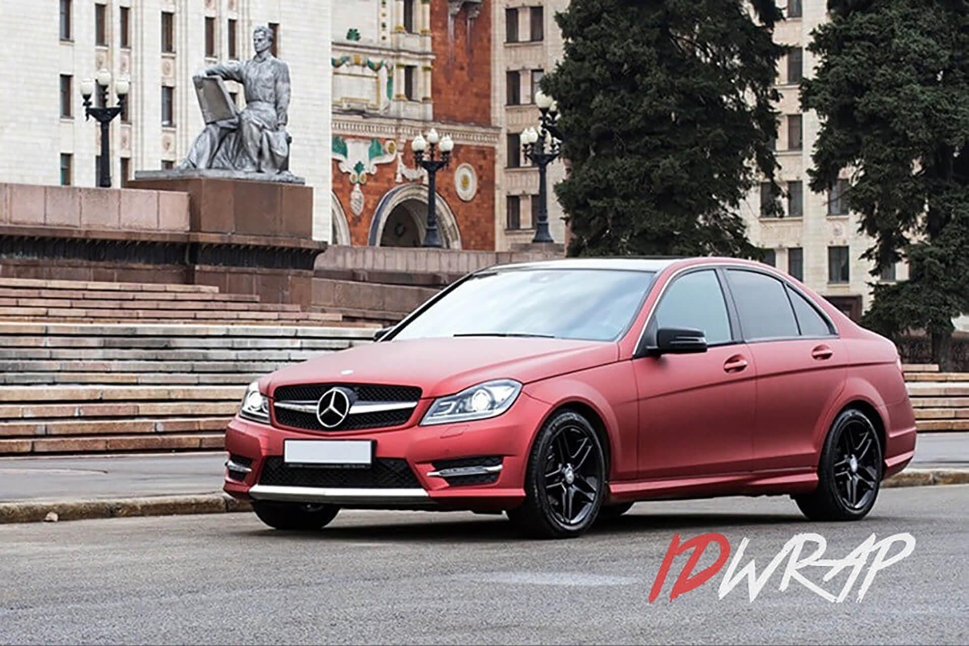 Mercedes-C180 матовый red aluminium