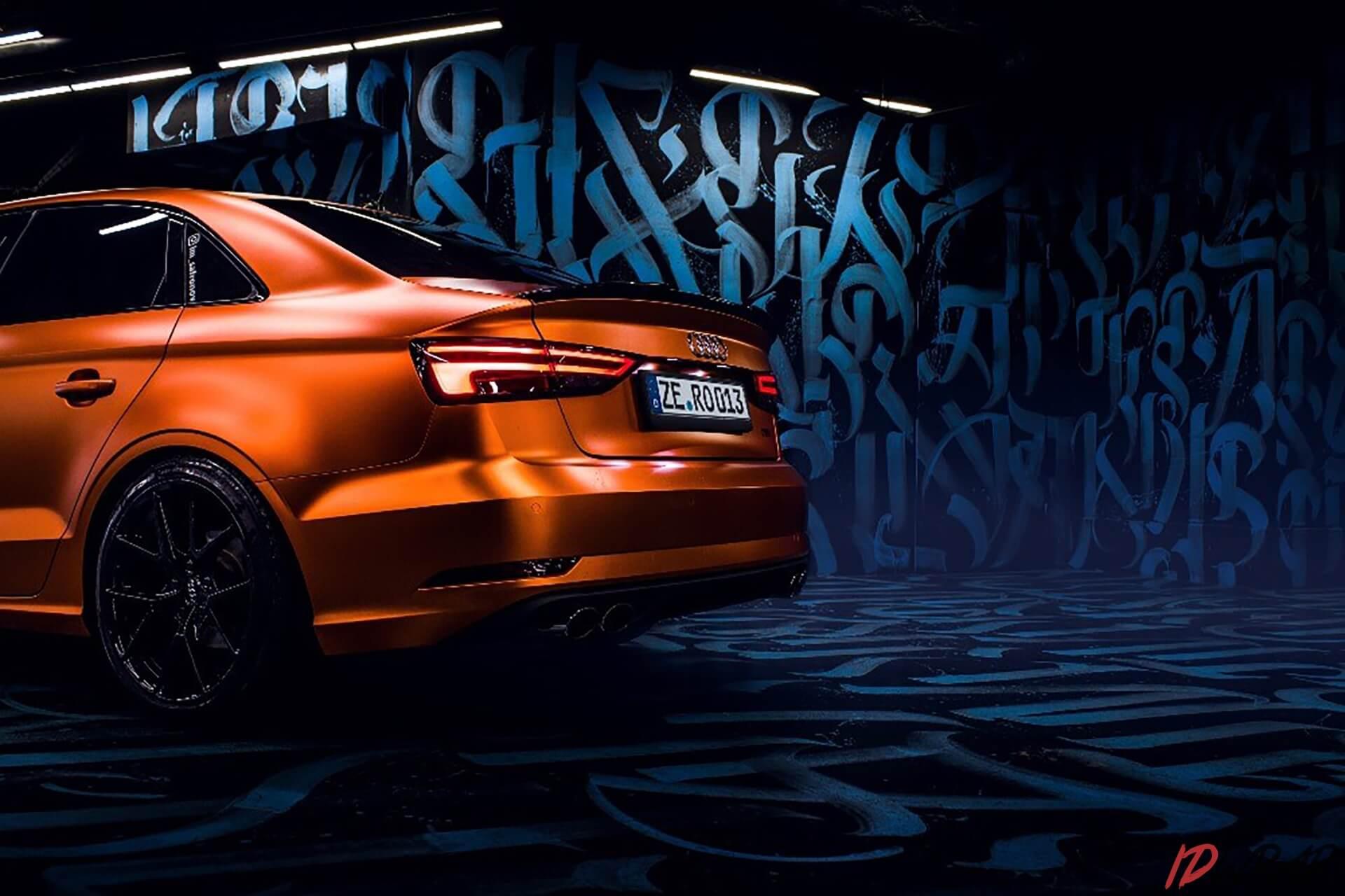 Audi A3 оранжевый матовый хром